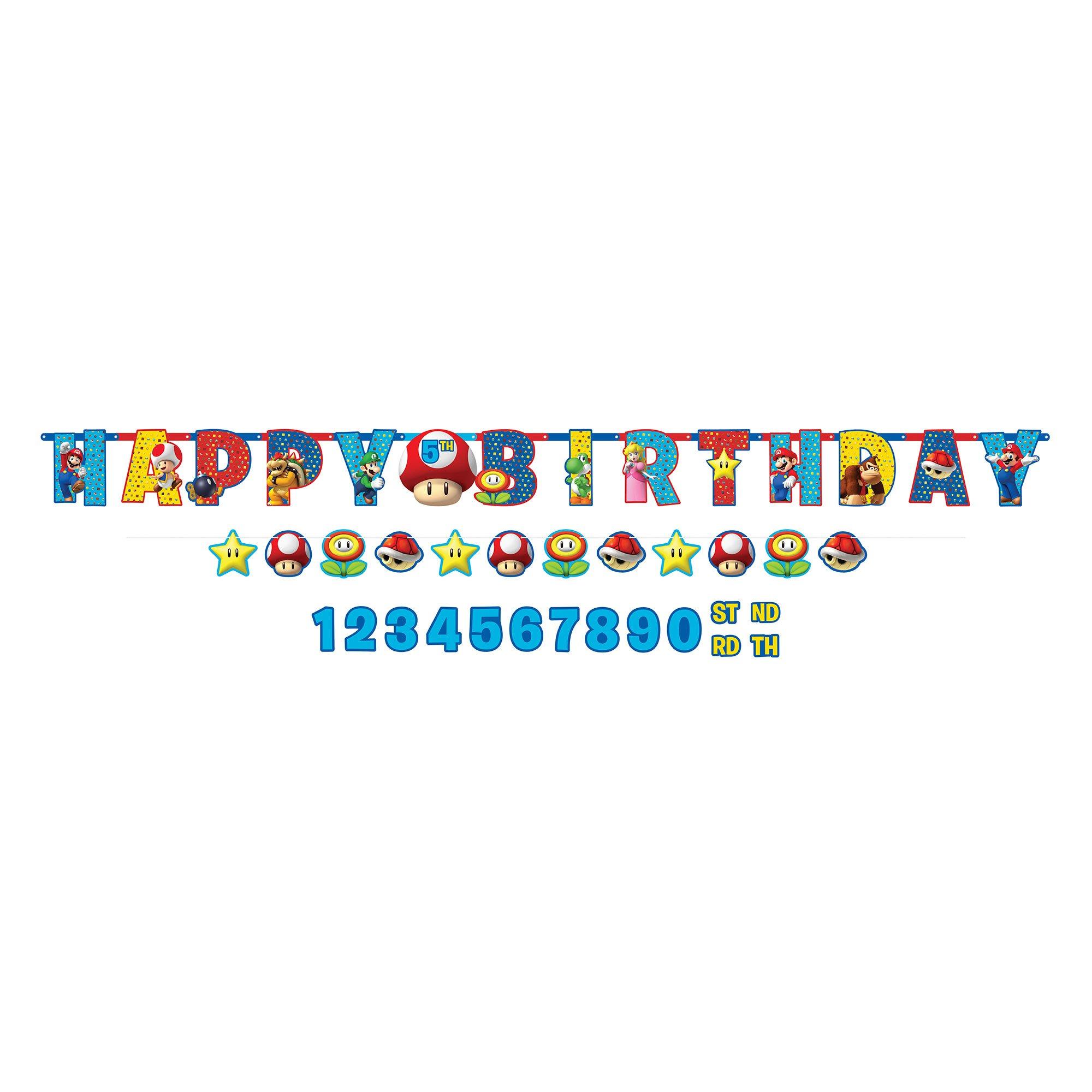 Super Mario Brothers Jumbo Happy Birthday Banner Kit