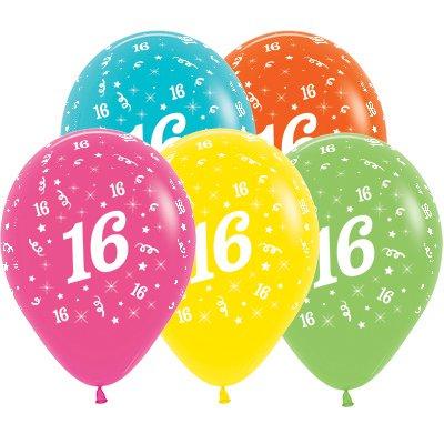 Sempertex 30cm Age 16 Tropical Assorted Latex Balloons, 25PK