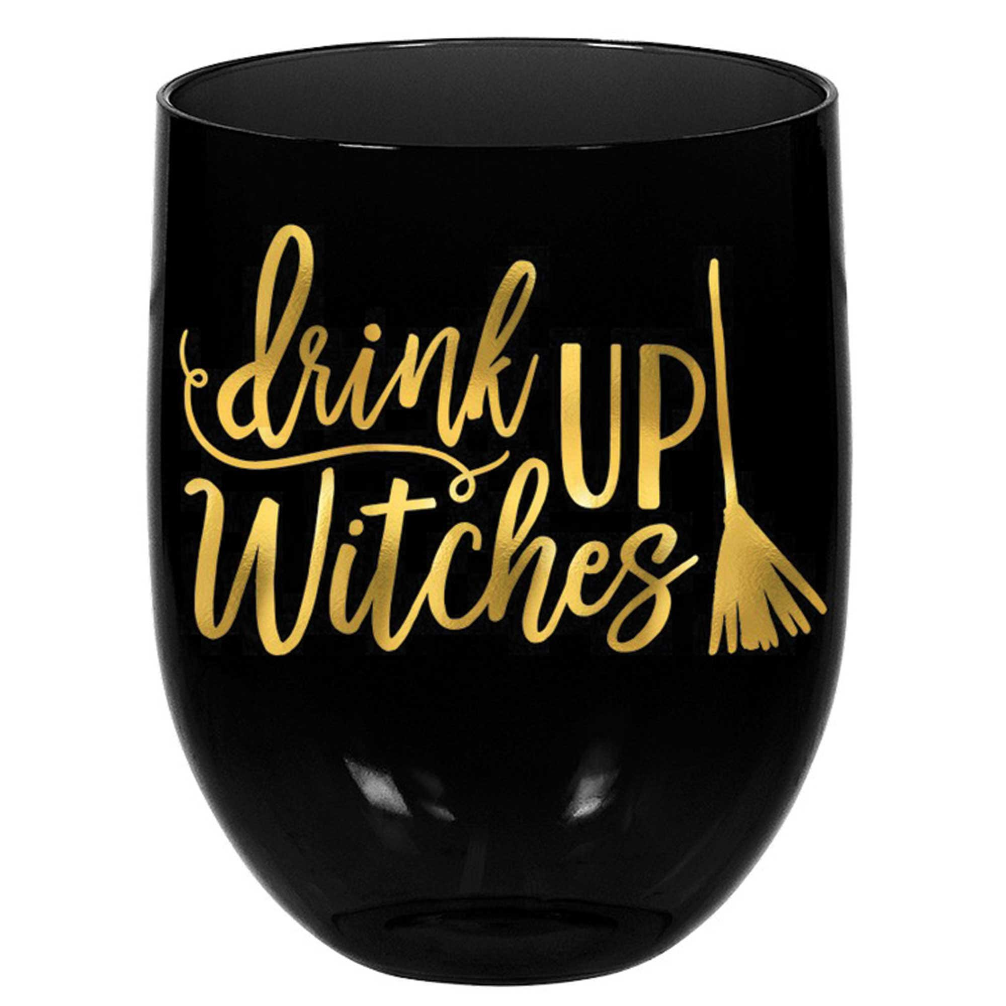 Witches Stemless Wine Glass - drink UP Witches Plastic