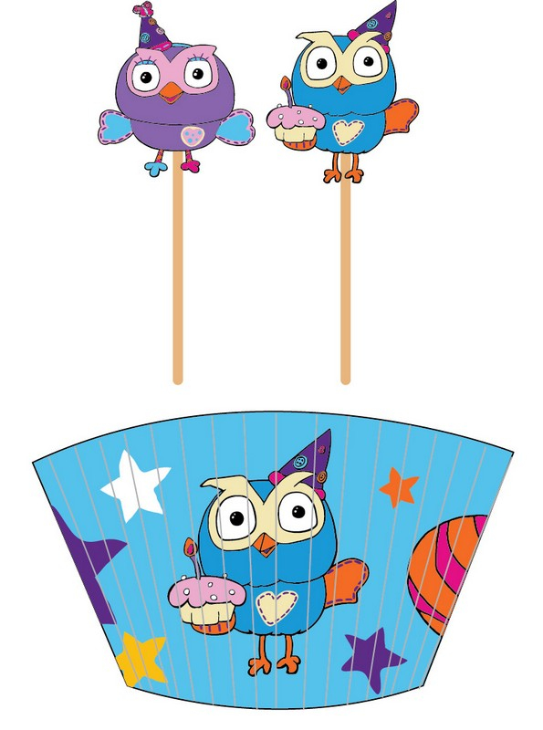 Giggle and Hoot Cupcake Cases and Picks