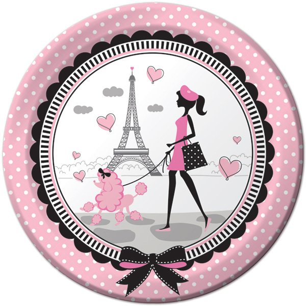 Party in Paris Dinner Plates Paper 22cm