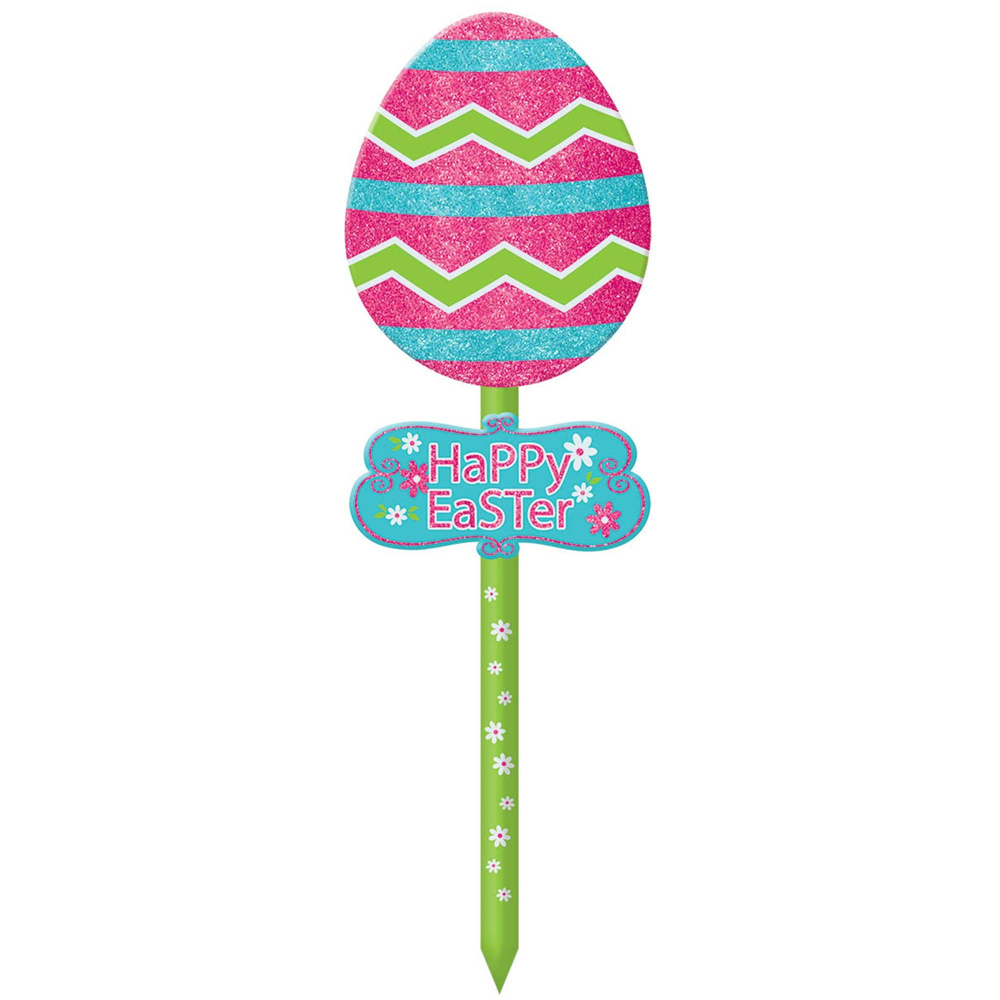 Happy Easter Egg Lawn Sign MDF Glittered