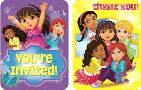 Dora and Friends Invitations & Thank You Card Combo.