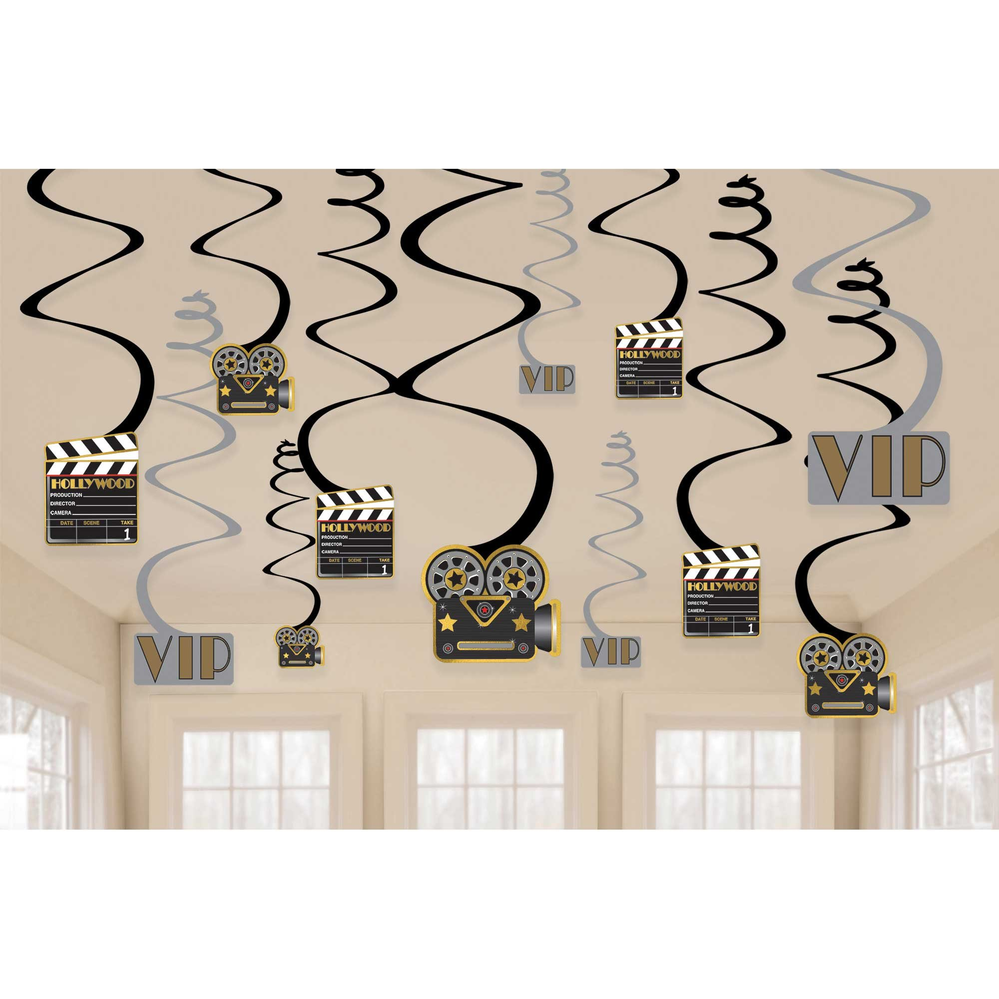 Lights Camera Action! Value Pack Foil Swirl Decorations