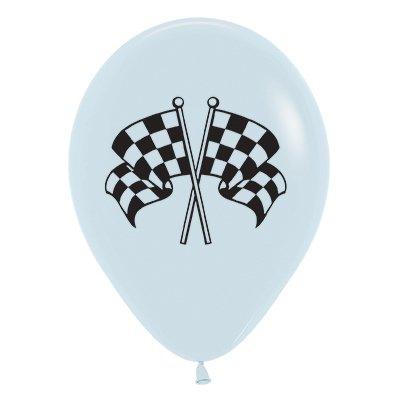 Sempertex 30cm Racing Flags Fashion White & Black Ink  Latex Balloons, 6PK