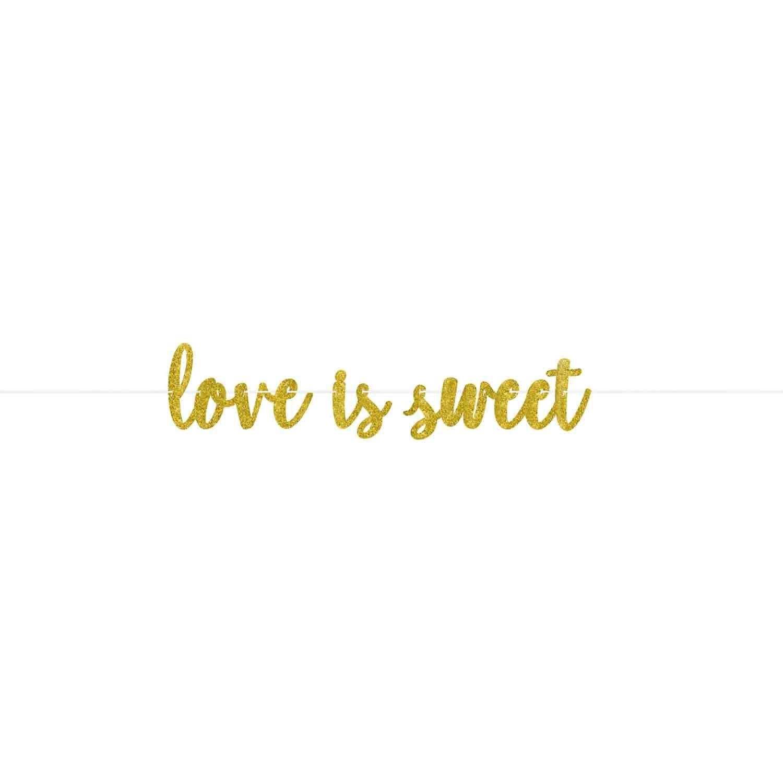 Love is Sweet Gold Glittered Cardboard Letter Banner