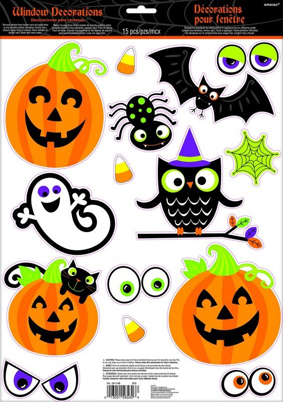 Family Friendly Halloween Assorted Window Decorations Vinyl