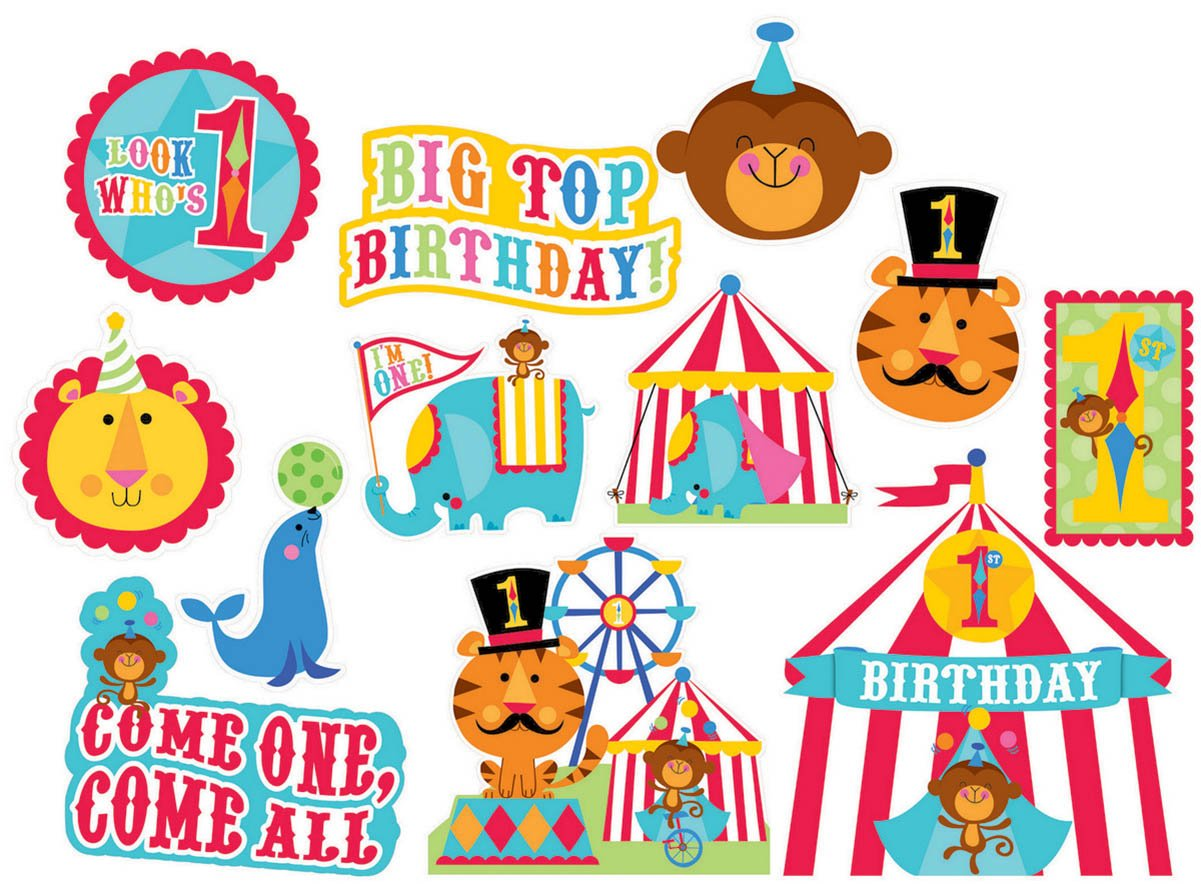 Fisher Price 1st Birthday Circus Value Pack Cutouts - Printed Paper