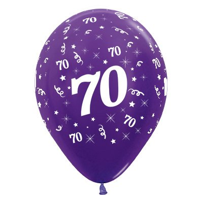 Sempertex 30cm Age 70 Metallic Purple Violet Latex Balloons, 25PK