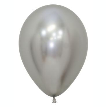 Sempertex 30cm Metallic Reflex Silver Latex Balloons 981, 50PK