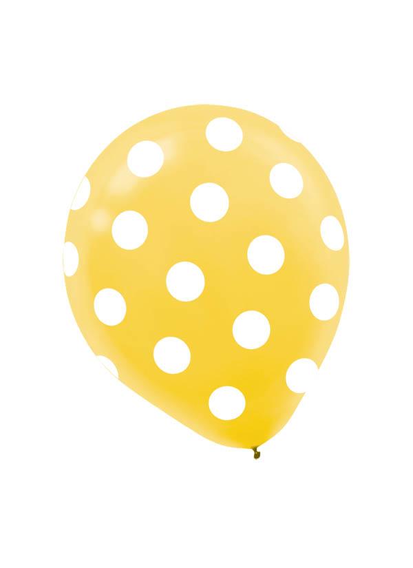 30cm Latex Balloon  Dots Yellow