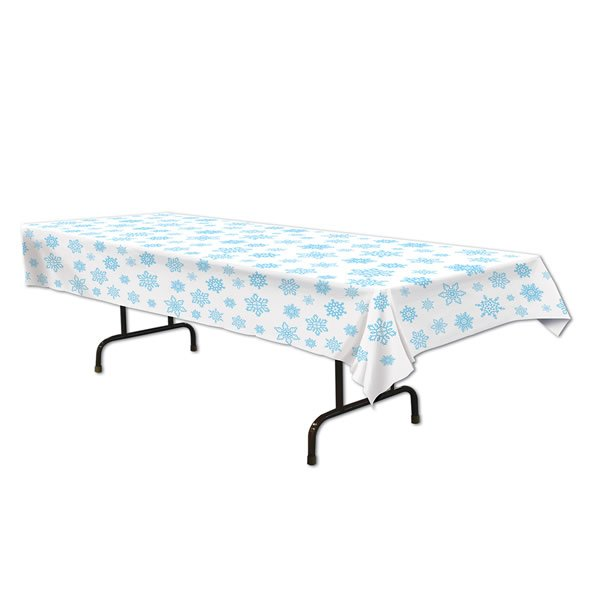 Snowflakes Tablecover Blue & White Plastic