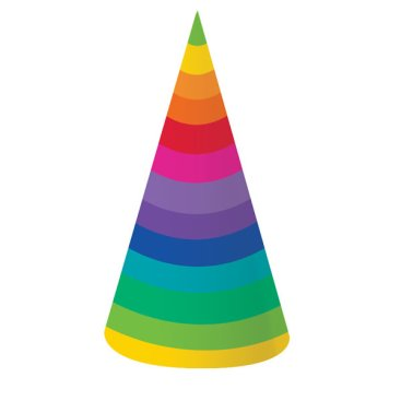 Rainbow Hats Cone Shaped 18cm