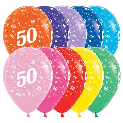 Sempertex 30cm Age 50 Fashion Assorted Latex Balloons, 25PK