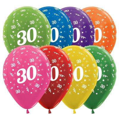 Sempertex 30cm Age 30 Metallic Assorted Latex Balloons, 25PK