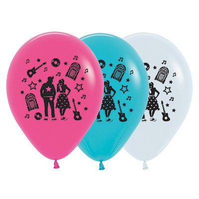 Sempertex 30cm Rock & Roll Theme Fashion White, Fuchsia & Caribbean Blue Latex Balloons, 25PK