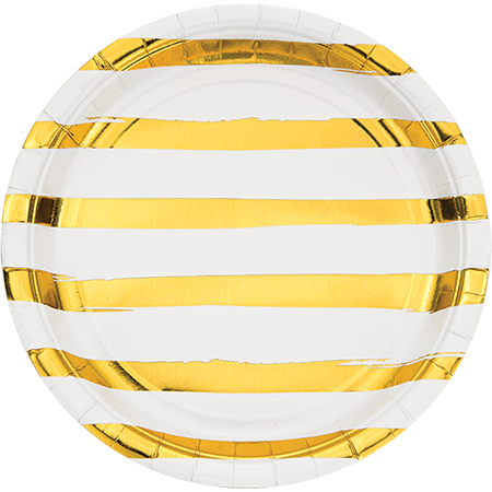 Touch of Colour White & Gold Foil Striped Dinner Plates Paper 22cm