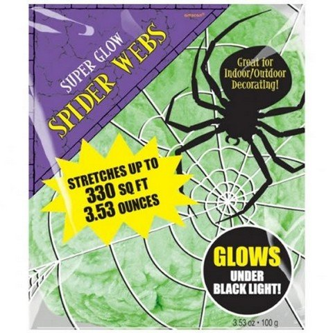 Spider Web Decoration Polyester Green - Glows Under Black Light