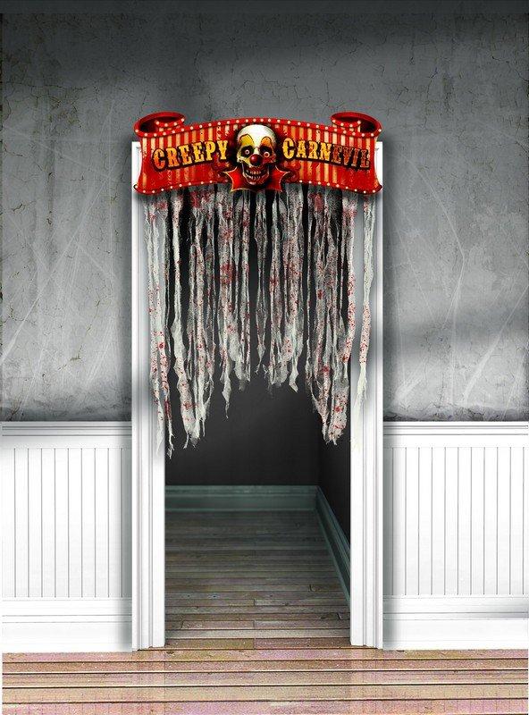 Creepy Carnival Doorway Curtain Cardboard Sign w/Gauze