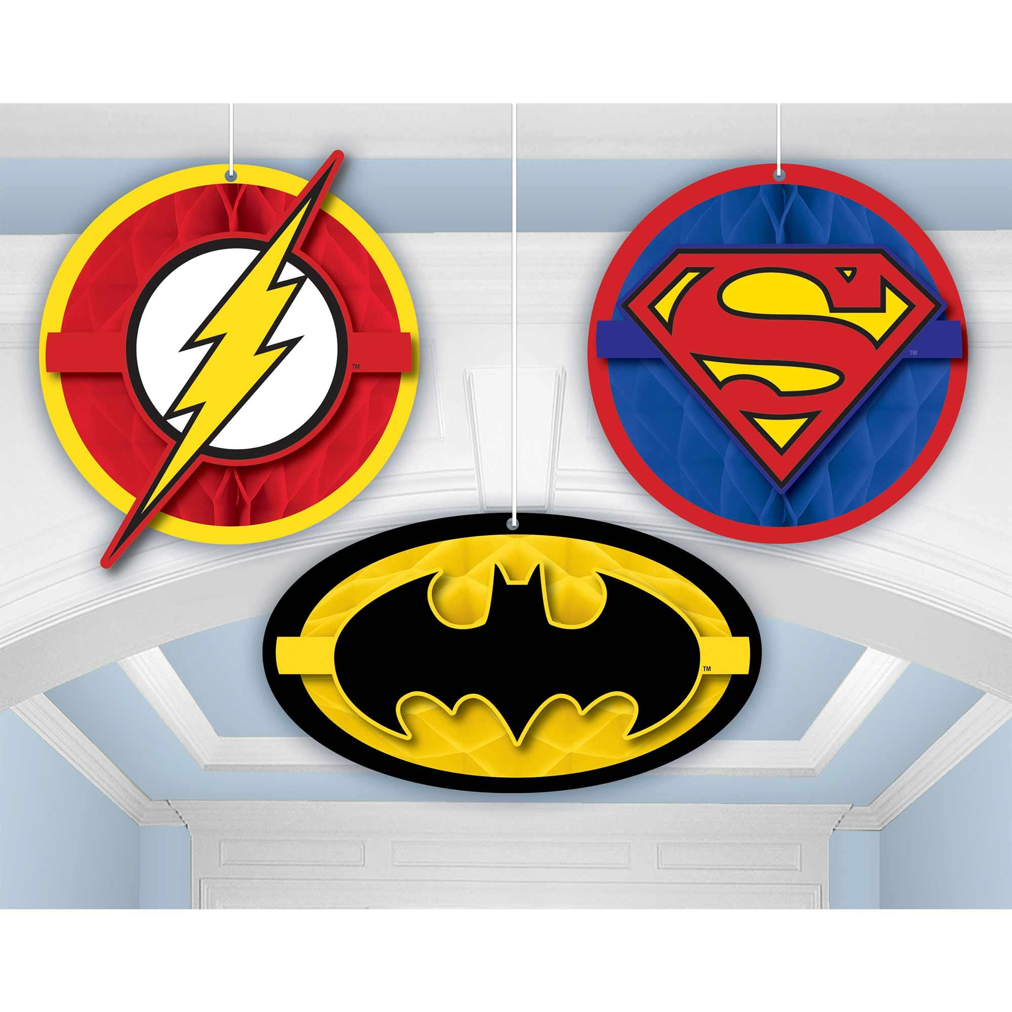 Justice League Heroes Unite Honeycomb Hanging Decorations
