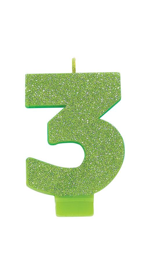 Candle Numeral Glitter #3 Kiwi