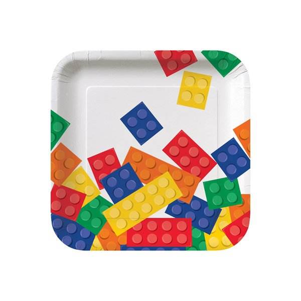 18cm Block Party Lunch Plates Square