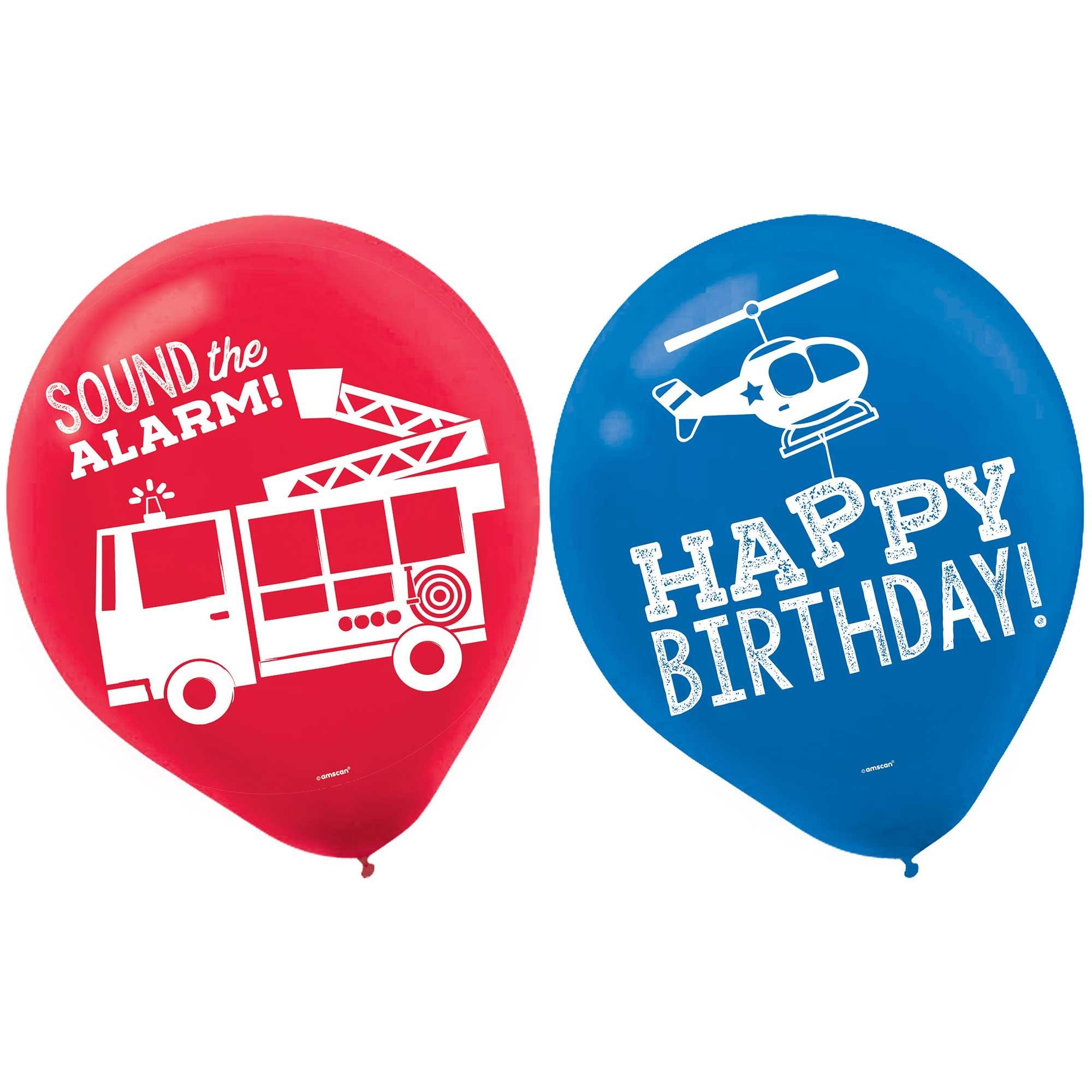 First Responders Happy Birthday 30cm Latex Balloons