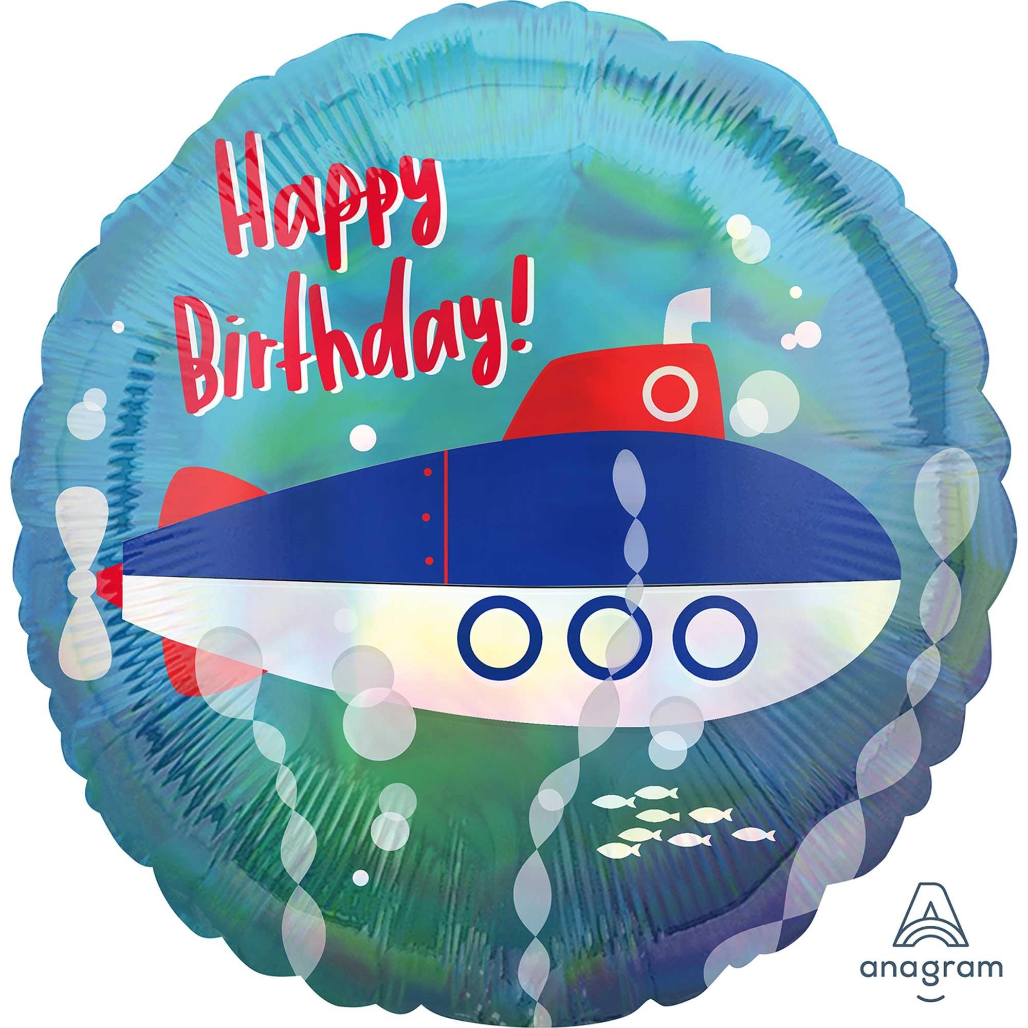 45cm Standard Holographic Iridescent Submarine Happy Birthday S55