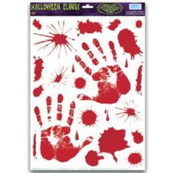 Bloody Splatters & Handprints Peel & Place Clings