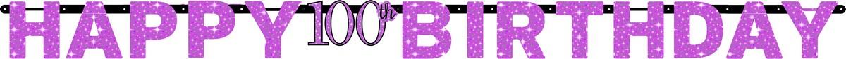 Pink Celebration 100 Prismatic Letter Banner