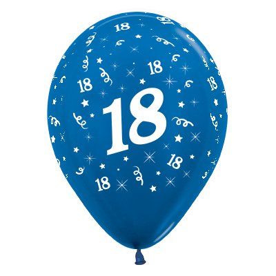 Sempertex 30cm Age 18 Metallic Blue Latex Balloons, 25PK