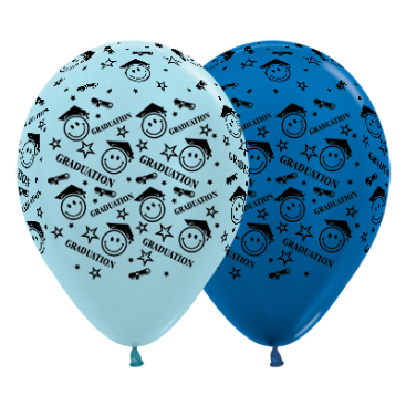 Sempertex 30cm Graduation Smiley Faces Satin Pearl Blue & Metallic Blue Latex Balloons, 25PK