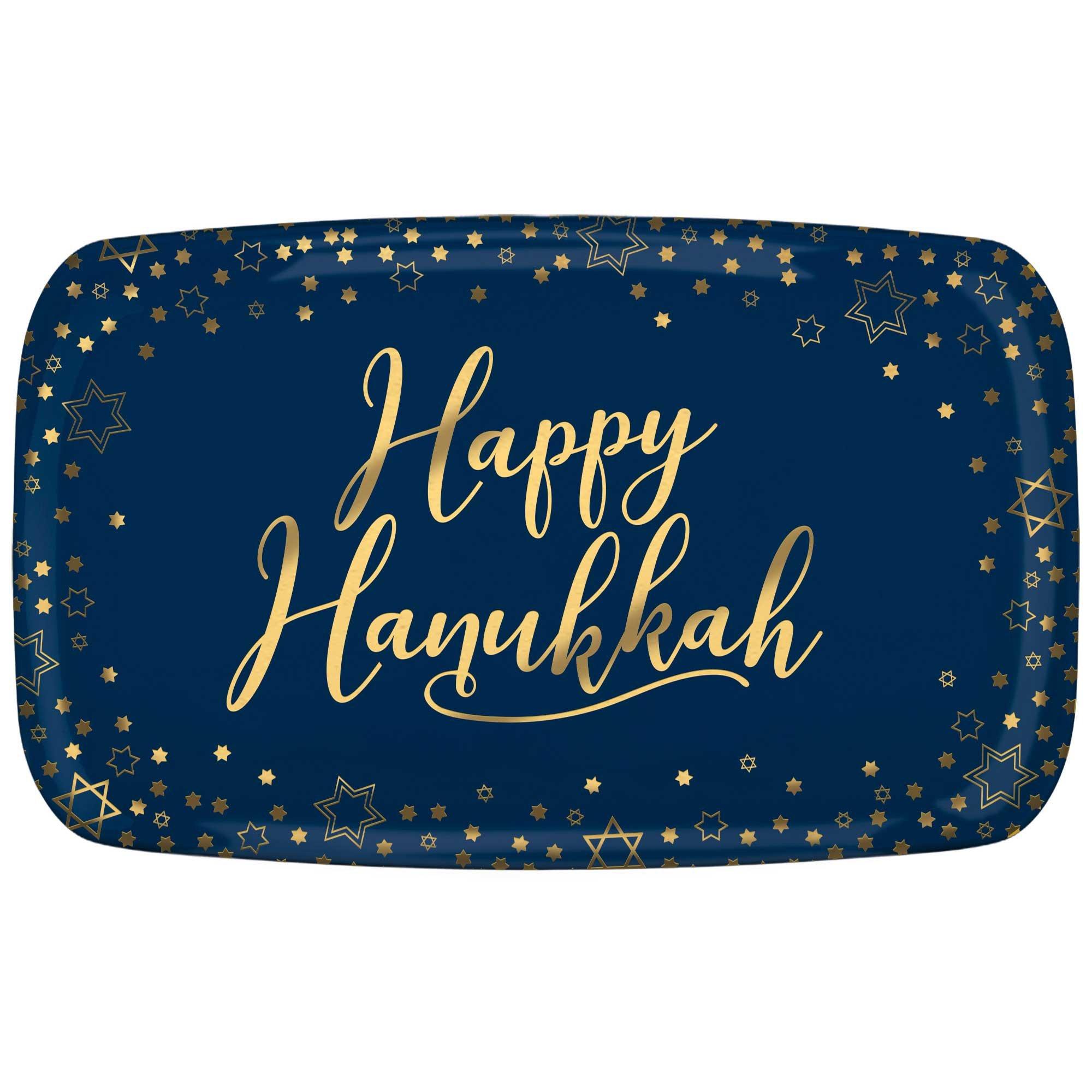 Hanukkah Rectangular Plastic Platter Hot Stamped