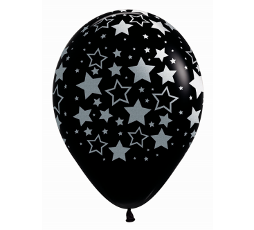 Sempertex 30cm METALink Bold Stars Fashion Black 12PK
