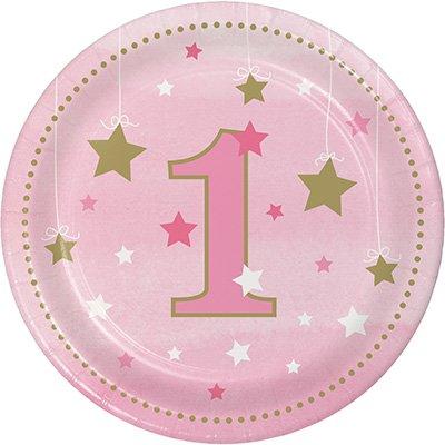 One Little Star Girl Lunch Plates 1st Birthday Paper 18cm