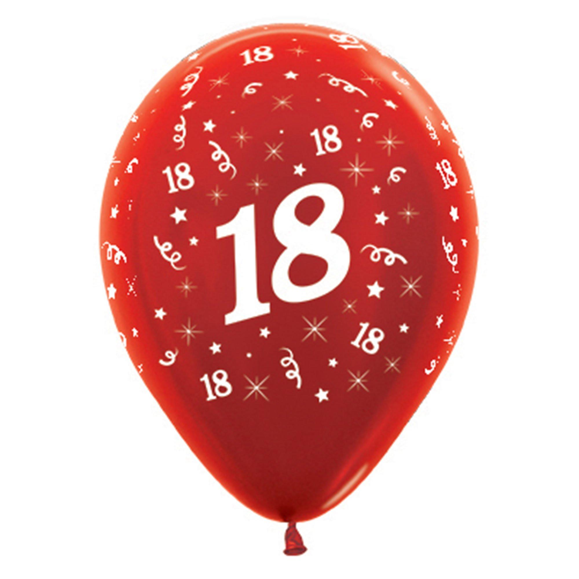 Sempertex 30cm Age 18 Metallic Red Latex Balloons, 25PK