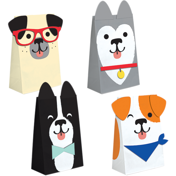 Dog Party Paper Treat Bags 20cm x 11cm