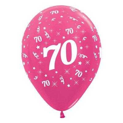 Sempertex 30cm Age 70 Metallic Fuchsia Latex Balloons, 25PK