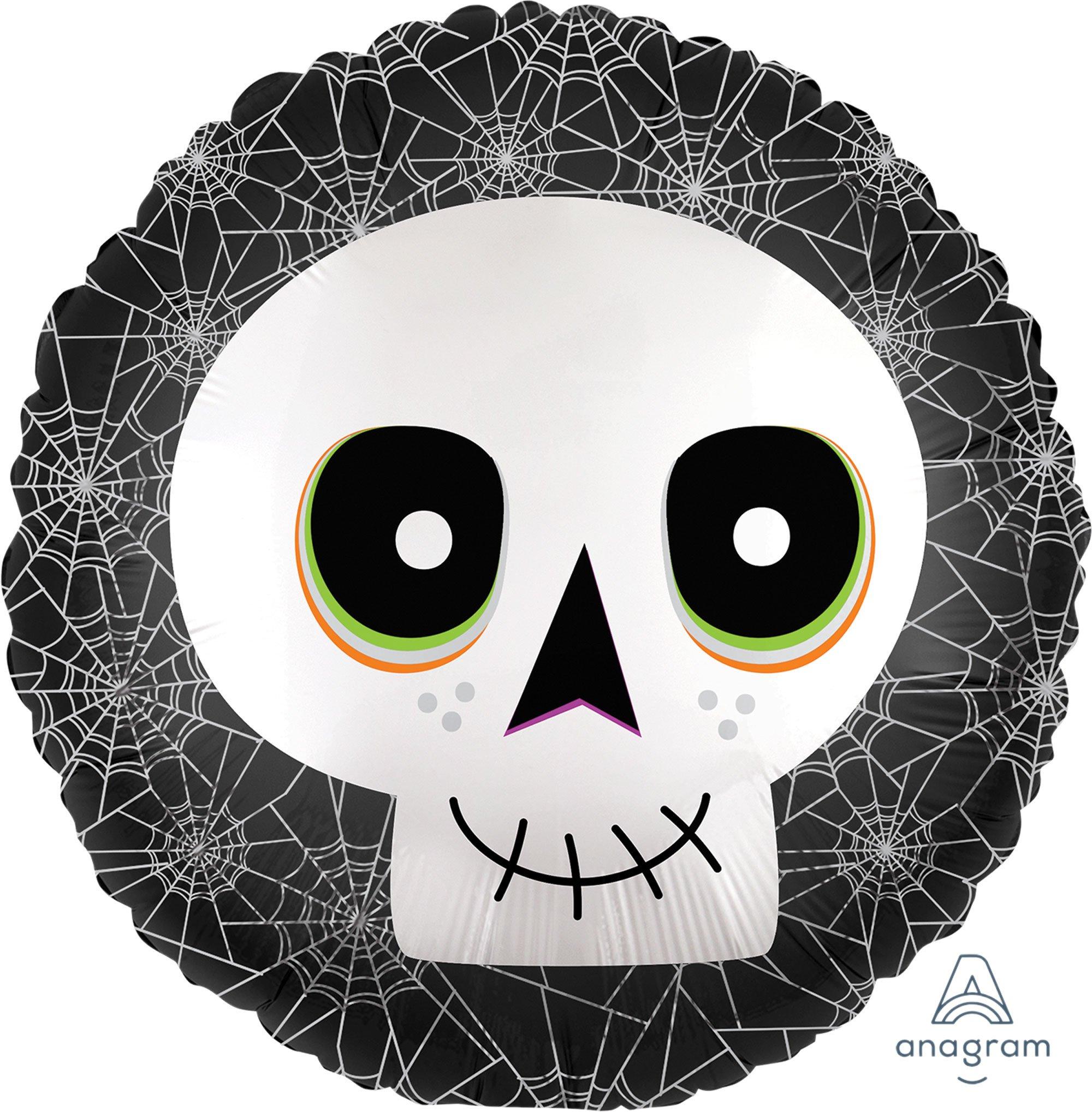 45cm Standard XL Happy Halloween Skull Satin Infused S40