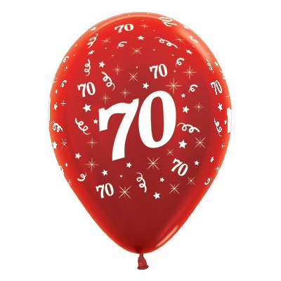 Sempertex 30cm Age 70 Metallic Red Latex Balloons, 25PK