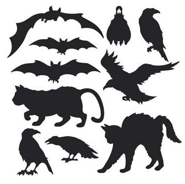 Halloween Black Animals Silhouettes Cutouts