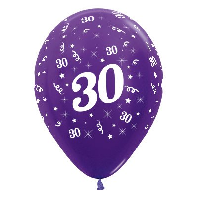 Sempertex 30cm Age 30 Metallic Purple Violet Latex Balloons, 25PK