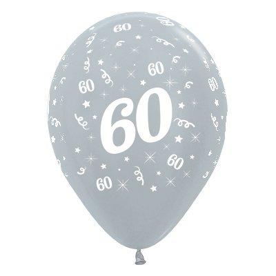 Sempertex 30cm Age 60 Satin Pearl Silver Latex Balloons, 25PK