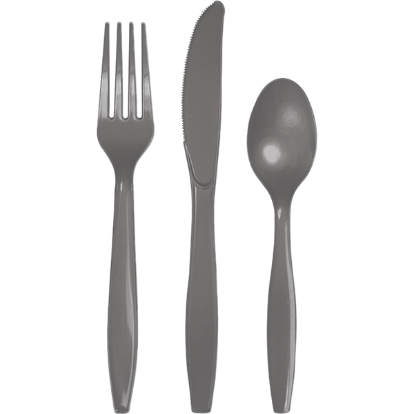 Glamour Gray Cutlery Set Plastic