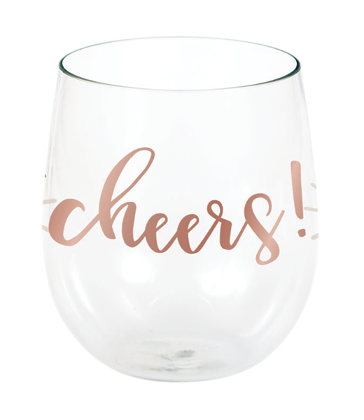 Rose All Day Stemless Wine Glass cheers Rose Gold