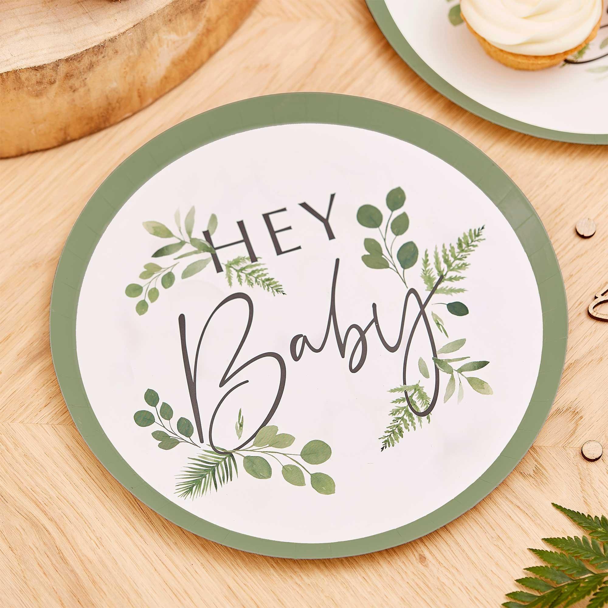 Botanical Baby Hey Baby Botanical Paper Plates