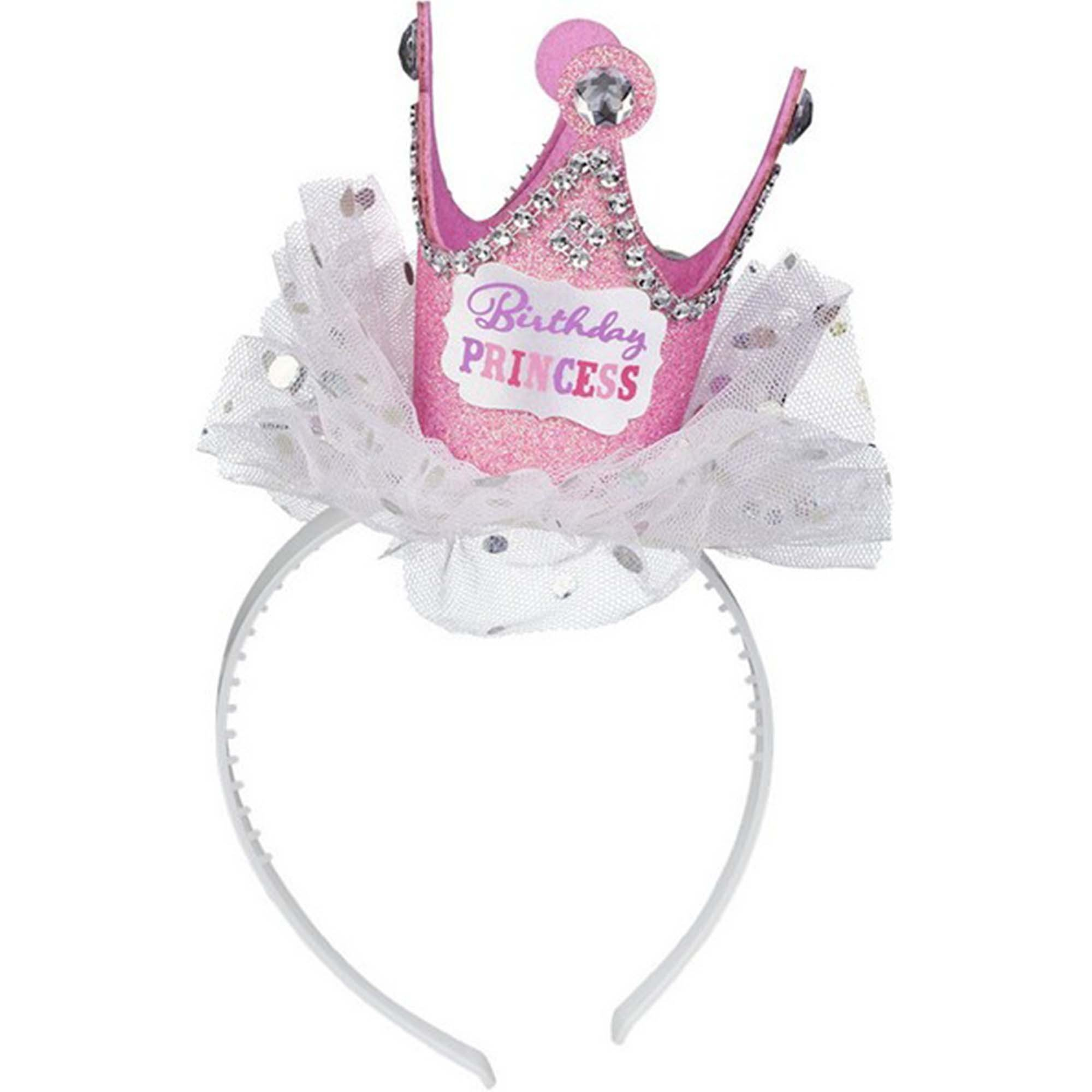 Birthday Princess Crown Headband Fabric with Ribbon