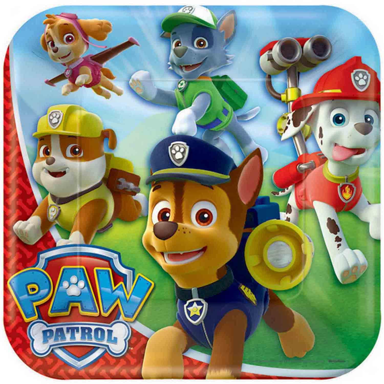 Paw Patrol 23cm Square Plates