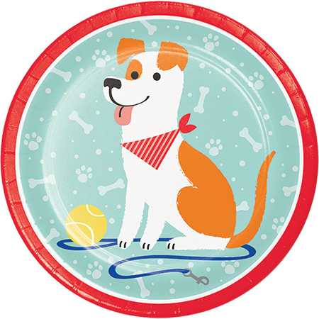 Dog Party Dinner Plates Paper 22cm