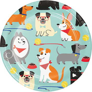 Dog Party Lunch Plates Paper 18cm